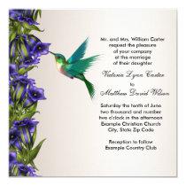 Hummingbird and Purple Violets Wedding Invitations