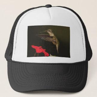 Hummingbird and red flower trucker hat