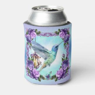 Hummingbird and rose Custom Can Cooler