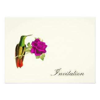Hummingbird And Rose - Vintage Invites