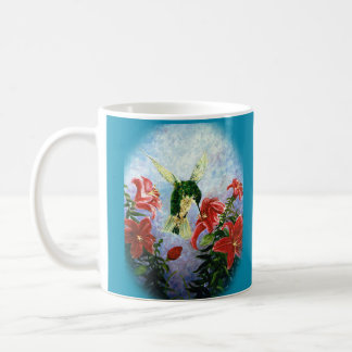 Hummingbird and Stargazer Lillies art mug