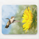 Hummingbird and Sunflower Mouse Pad