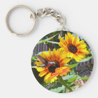 Hummingbird and Sunflowers Keychain