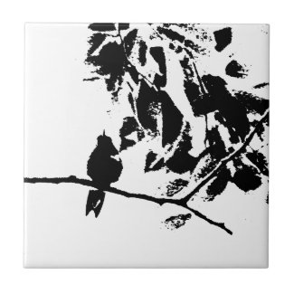 Hummingbird and Tree Branches Silhouette Tile
