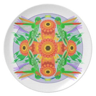 Hummingbird and Trumpet Vine Dinner Plate
