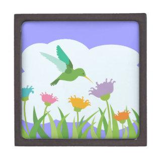 Hummingbird and Wildflowers Jewelry Box