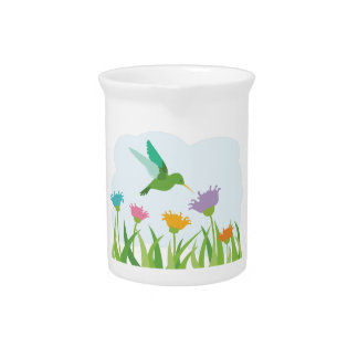 Hummingbird and Wildflowers Pitcher