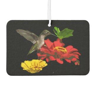 Hummingbird and Zinnia Flowers Air Freshener