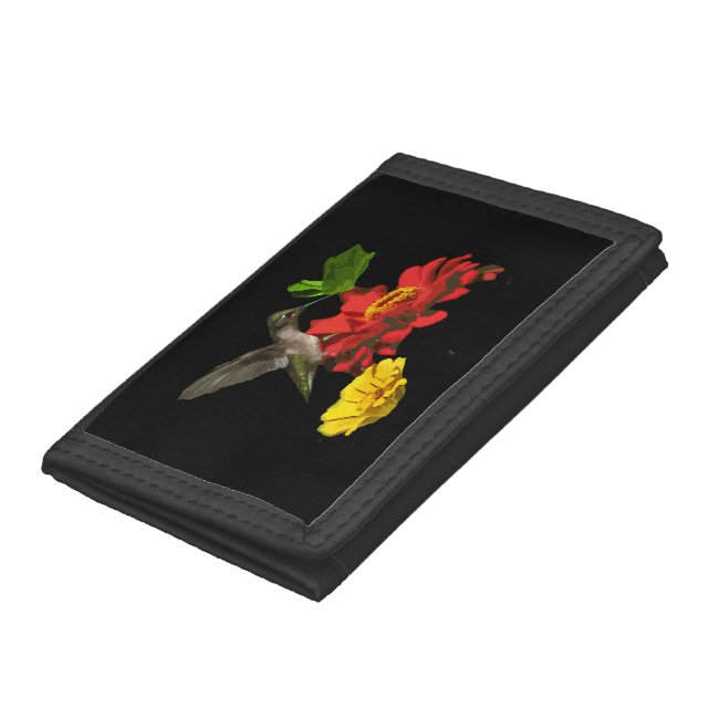 Hummingbird and Zinnia Flowers Wallet