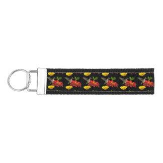 Hummingbird and Zinnia Flowers Wrist Keychains Wrist Keychain