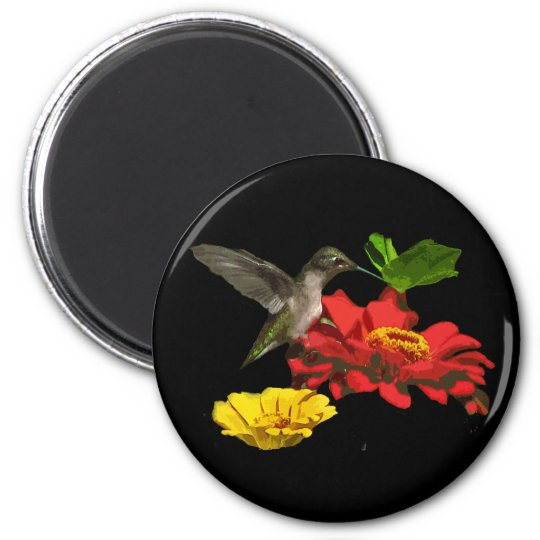 Hummingbird and Zinnias 2 Inch Round Magnet