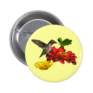 Hummingbird and Zinnias Button