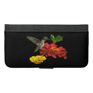 Hummingbird and Zinnias iPhone 6 Plus Wallet Case