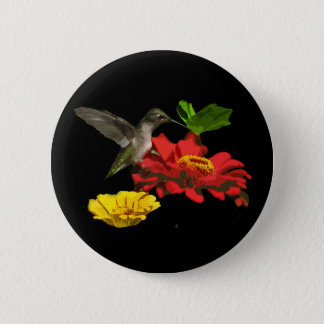 Hummingbird and Zinnias Pinback Button