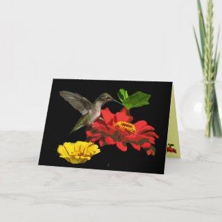 Hummingbird and Zinnias Thank You card