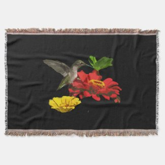 Hummingbird and Zinnias Throw Blanket