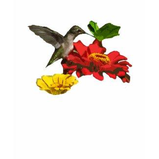 Hummingbird and Zinnias Tees