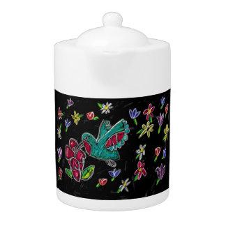 hummingbird art teapot
