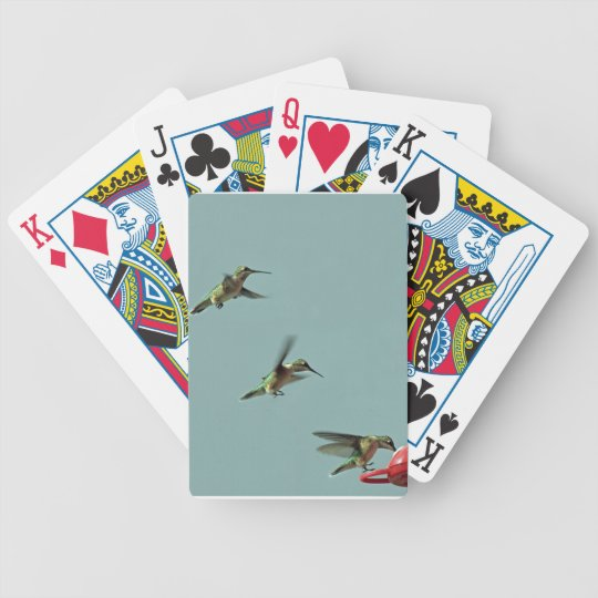 Hummingbird at feeder bicycle playing cards