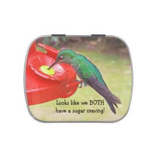 """HUMMINGBIRD AT FEEDER"" (PHOTOG) JELLY BELLY TIN"