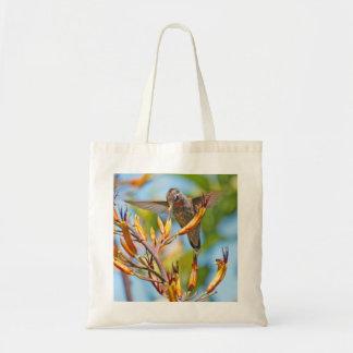 Hummingbird at Flax Flower Budget Tote Bag