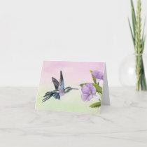 Hummingbird at Morning Glory Note Card