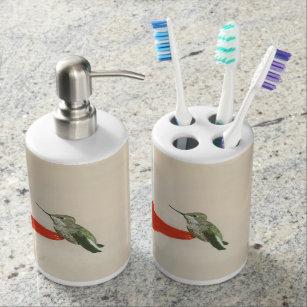 Marvelous Hummingbird Bathroom Accessories Soap Dispenser And Toothbrush Holder