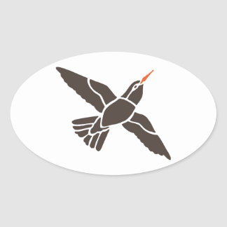 Hummingbird Bird Birds Black Art Cartoon Animal Oval Sticker