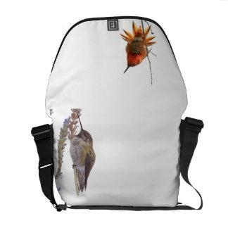 Hummingbird Bird Floral Animal Wildlife Flower Courier Bag