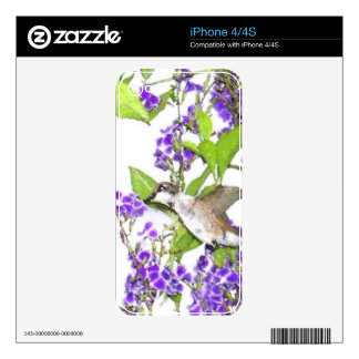 Hummingbird Bird Floral Wildlife Animal Flower Skin For The iPhone 4S