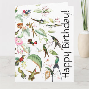 Hummingbird birthday cards zazzle hummingbird bird flower floral bday greeting card m4hsunfo