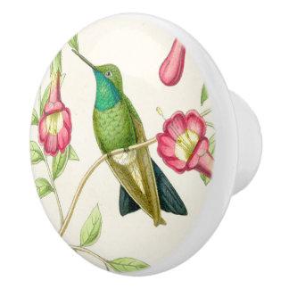 Hummingbird Bird Flower Floral Garden Knob Ceramic Knob