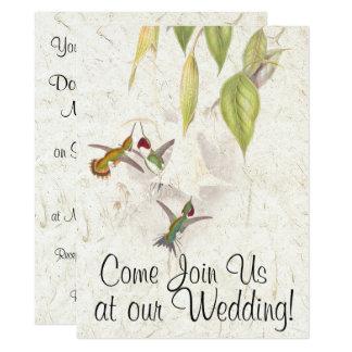 Hummingbird Bird Flowers Wedding Invitation