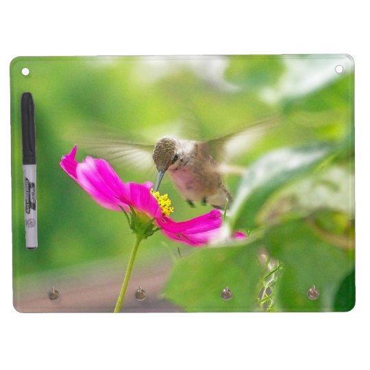Hummingbird Bird Flowers Wildlife Floral Animals Dry Erase Board With Keychain Holder