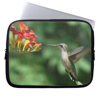 Hummingbird Bird Flowers Wildlife Floral Animals Laptop Sleeve