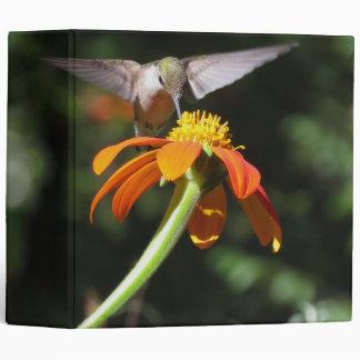 Hummingbird Bird Monarch Butterfly Flowers Floral Binder