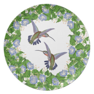 Hummingbird Bird Morning Glory Flower Floral Plate