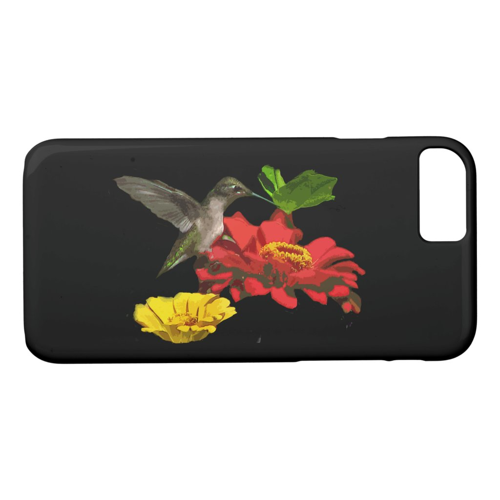 Hummingbird Bird Red Zinnia Flowers iPhone 7 Case