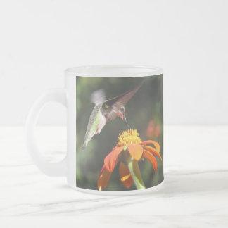 Hummingbird Bird Sunflower Flower Floral Garden Frosted Glass Coffee Mug