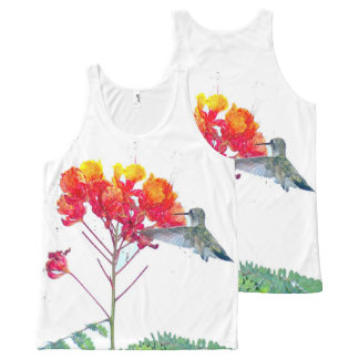 Hummingbird Bird Wildlife Animal Flowers Floral All-Over Print Tank Top