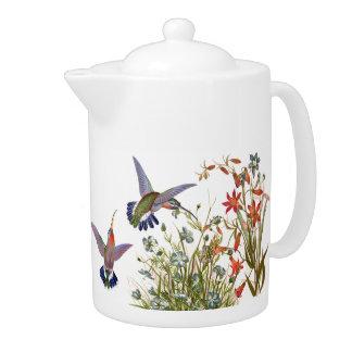 Hummingbird Birds Animals Floral Flower Garden Teapot