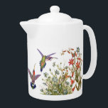 """Hummingbird Birds Animals Floral Flower Garden Teapot<br><div class=""""desc"""">Darling collage of vintage botanical fine art of exotic tropical Hummingbird Birds by Gould,  and other vintage Flower Art,    is on this Teapot.  Image is public domain due to expired copyright.  Collage is by me.</div>"""