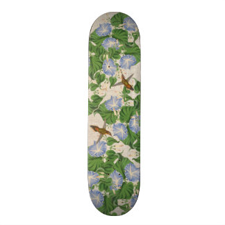 Hummingbird Birds Floral Morning Glory Flowers Skateboard