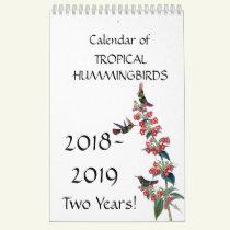 Hummingbird Birds Flower Floral 2018 2019 Calendar