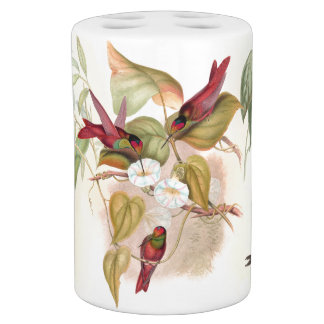 Hummingbird Birds Flower Floral Wildlife Animal Soap Dispenser And Toothbrush Holder