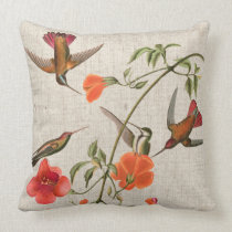 Hummingbird Birds Flowers Animals Audubon Pillow