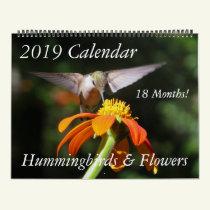 Hummingbird Birds & Flowers Floral 2019 Calendar