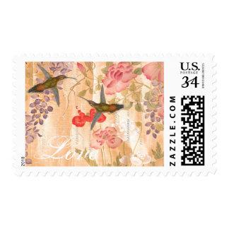 Hummingbird Birds Flowers Floral Love Postage