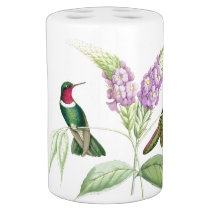 Hummingbird Birds Flowers Floral Wildlife Animals Soap Dispenser And Toothbrush Holder