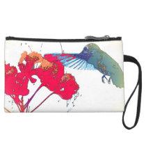Hummingbird Birds Flowers Wildlife Animals Floral Suede Wristlet Wallet